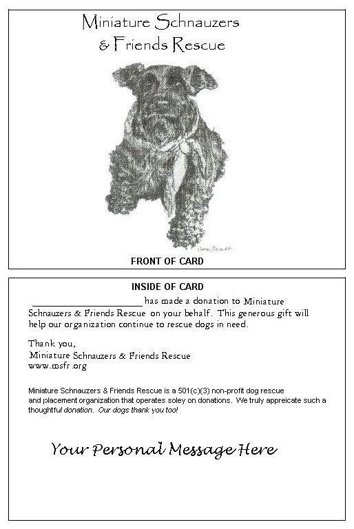Miniature Schnauzers Friends Rescue Donation Gift Card Form